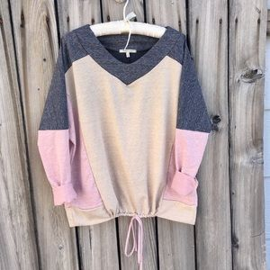 Sweaters - Color Block 🌷Pink-Ivory-Gray Drawstring Sweater